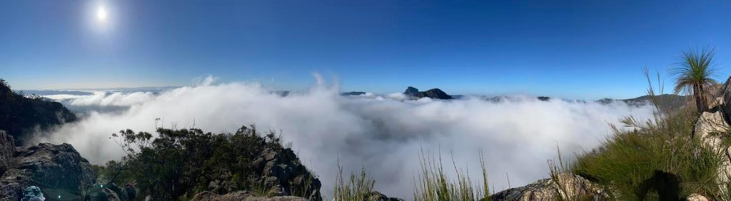 Low lying cloud made for a wonderful backdrop on our Mt Barney Summit Hike