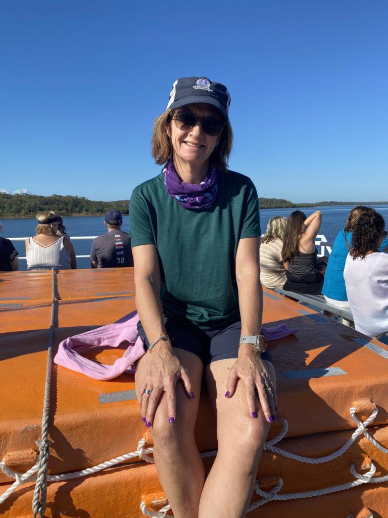 Yvonne in her Ottie Merino Shirt on the K'gari barge